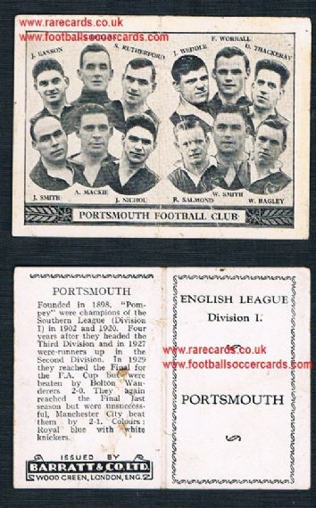 1934 Barratt English League Div 1 folder Portsmouth